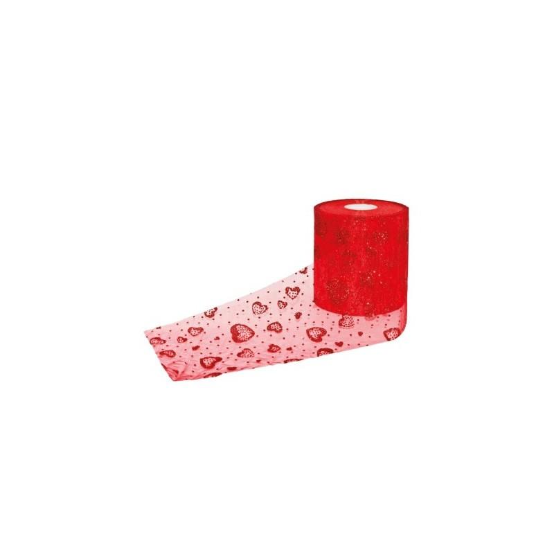 rotolo tulle rosso cuori glitterati