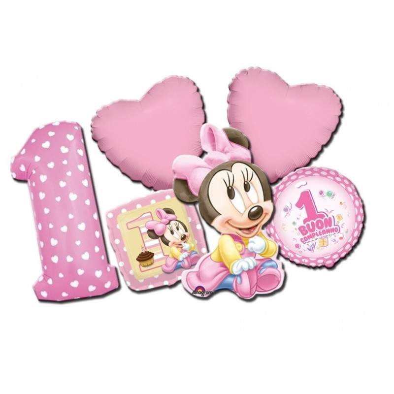BOUQUET PALLONCINI FOIL MINNIE BABY BUON PRIMO COMPLEANNO KIT N 6