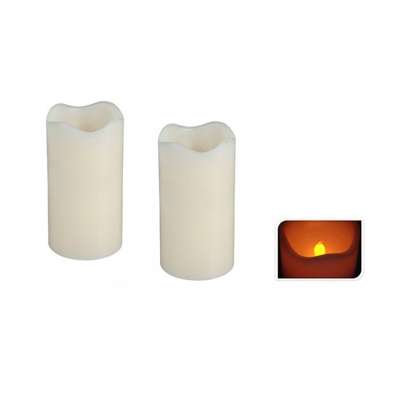 candela bianca a led 2 pz.