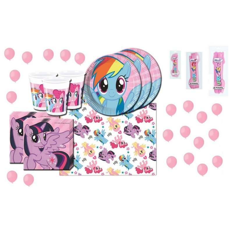 KIT 18 - MY LITTLE PONY + CUCCHIAI COLTELLI FORCHETTE E PALLONCINI ROSA