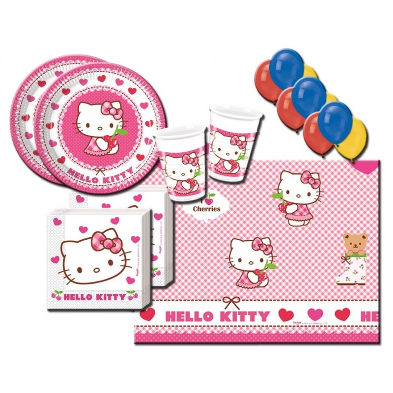 KIT N 4 COMPLEANNO HELLO KITTY HEARTS +100 PALLONCINI