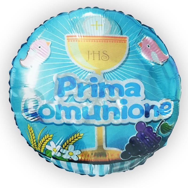 PALLONCINO FOIL PRIMA COMUNIONE CELESTE CALICE 982946-01