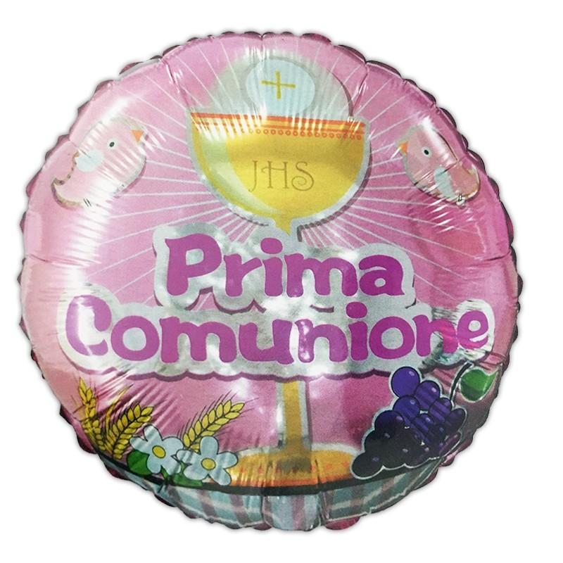 PALLONCINO FOIL PRIMA COMUNIONE ROSA CALICE 982939-01