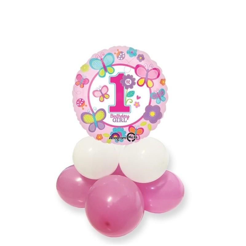 CENTROTAVOLA PALLONCINI COMPLEANNO 1 ANNO BIRTHDAY GIRL ROSA