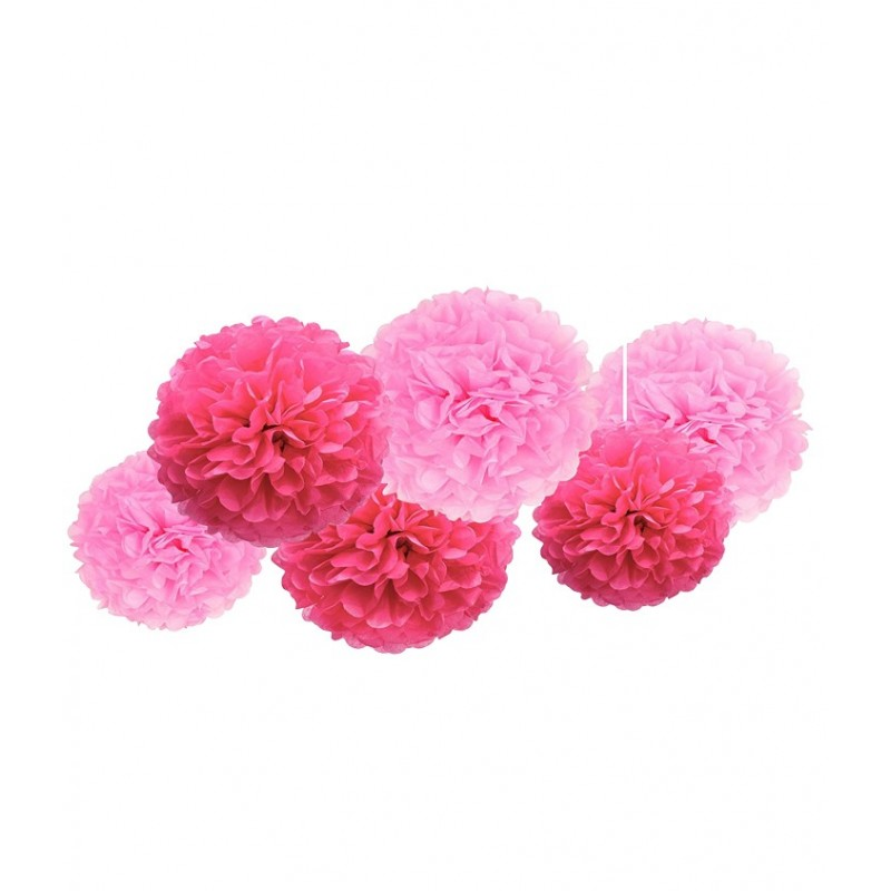 FLUFFY DECORAZIONI IN CARTA POMPON  6 PZ ROSA E FUCSIA