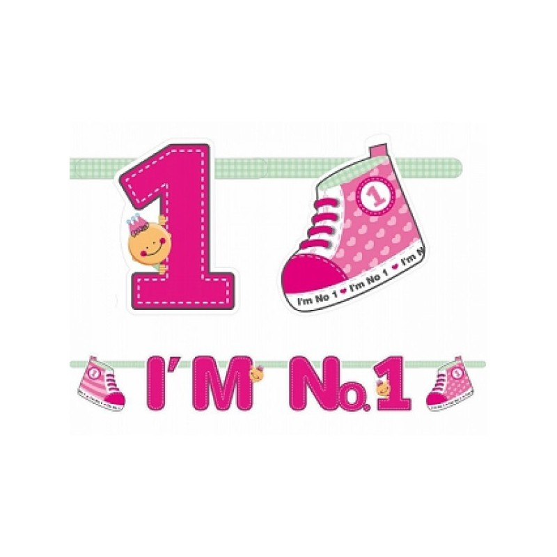"GHIRLANDA 1 ANNO  "" I'M NUMBER 1 "" PRIMO COMPLEANNO ROSA GRL10/R"