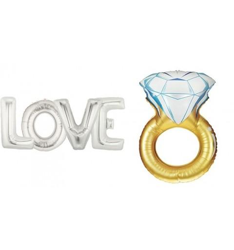 4 PALLONCINI LETTERE LOVE ARGENTO + FOIL ANELLO DIAMANTE