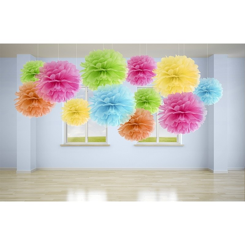 DECORAZIONI ADDOBBI PER FESTA PARTY POM POM FLUFFY VIOLA