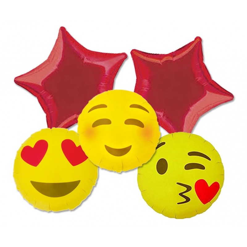 BOUQUET PALLONCINI FOIL EMOTICON SMILE FACCINE