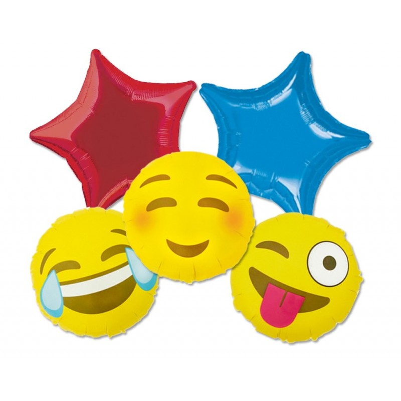 BOUQUET PALLONCINI FOIL FACCINE SORRIDENTI EMOTICON SMILE LINGUACCIA