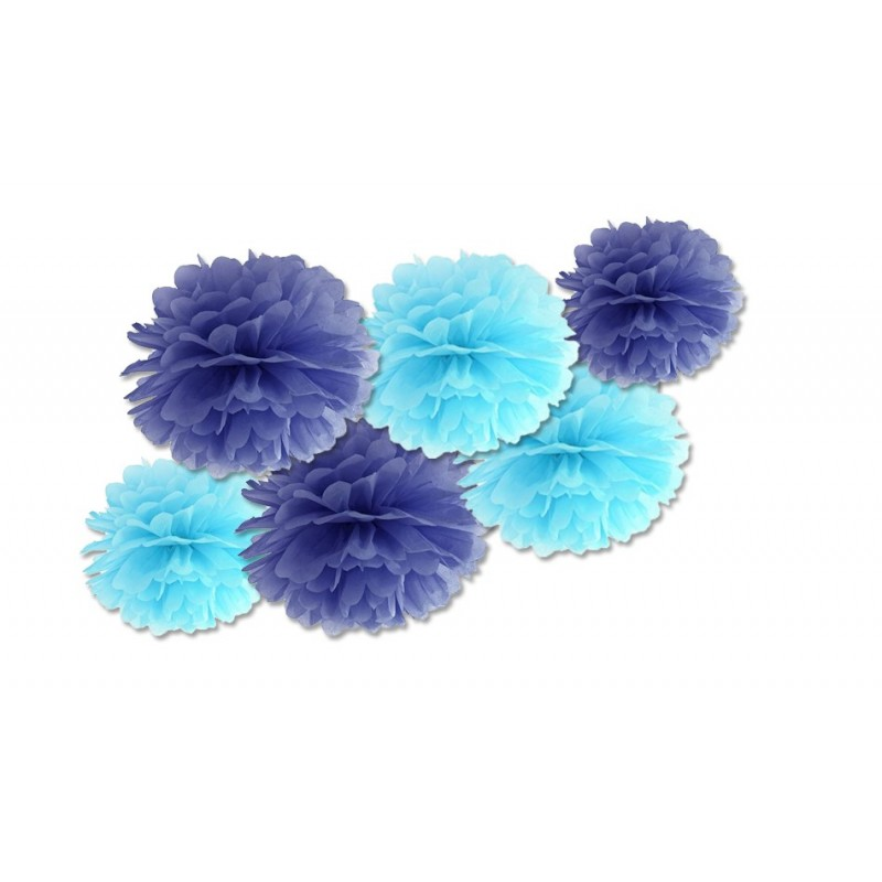 FLUFFY DECORAZIONI IN CARTA DA APPENDERE BLU E CELESTI 6 PZ