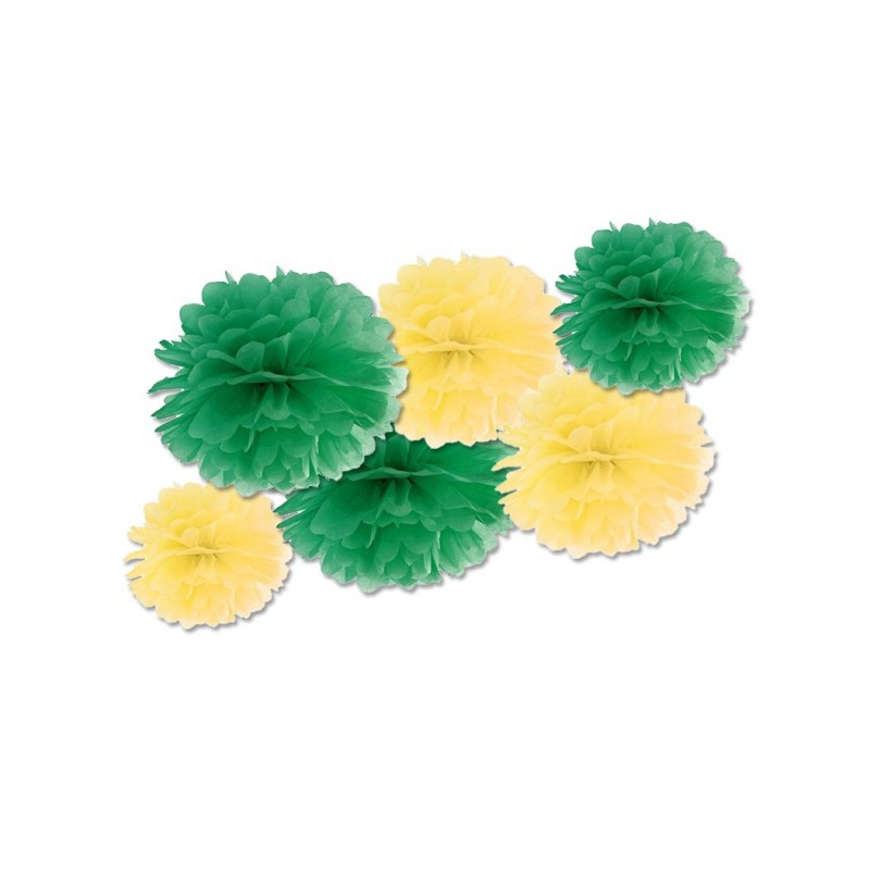 FLUFFY DECORAZIONI IN CARTA VERDE E GIALLO 6 PZ
