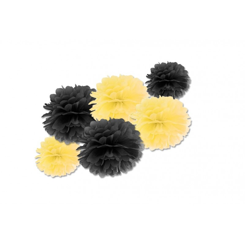 FLUFFY DECORAZIONI IN CARTA DA APPENDERE GIALLO E NERO 6 PZ