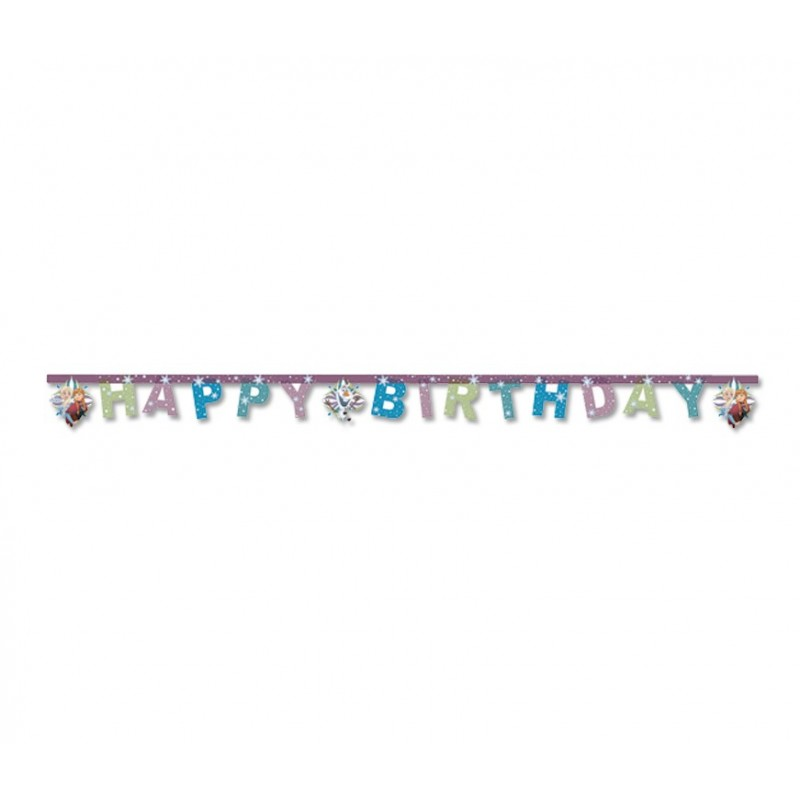GHIRLANDA HAPPY BIRTHDAY DISNEY FROZEN SNOWFLAKES