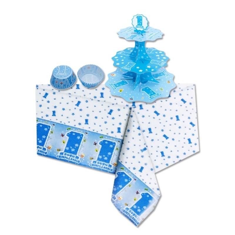 SET CUPCAKE 1 ANNO ONE LIGHT BLUE ALZATINA + TOVAGLIA + 48 PIROTTINI