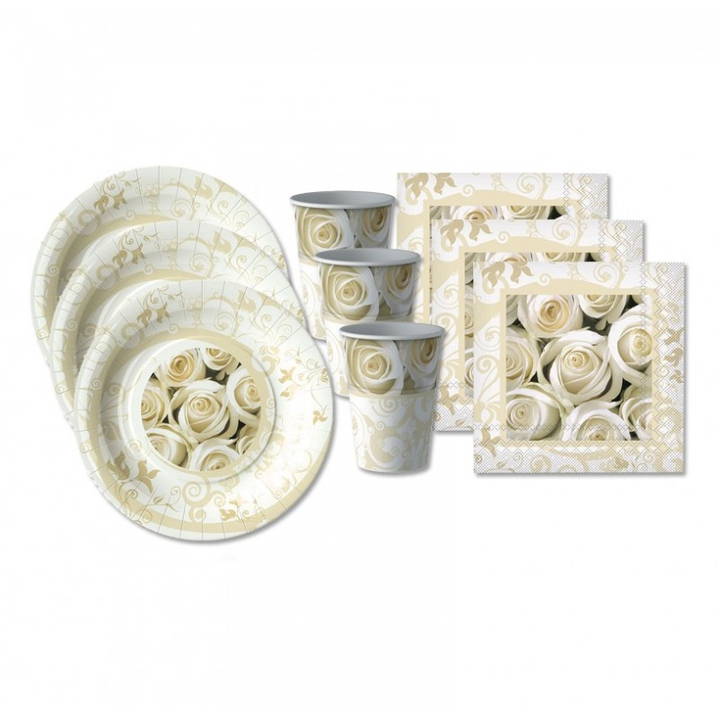 KIT N 29 - ACCESSORI TAVOLA MATRIMONIO ROSE BIANCHE