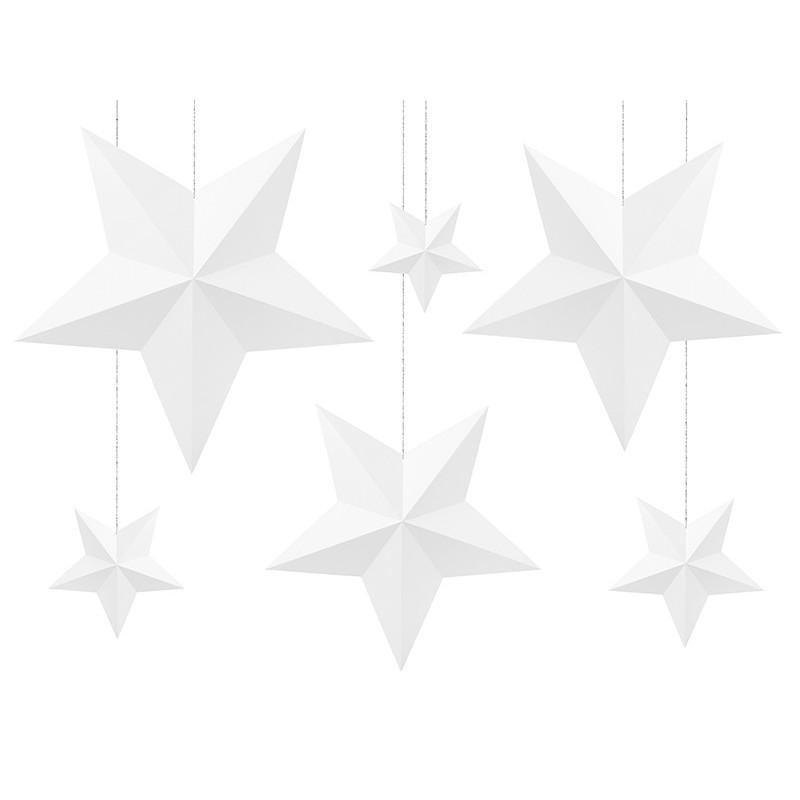 DECORAZIONI DA APPENDERE STELLE 3D BIANCHE IN CARTA DWG1-008