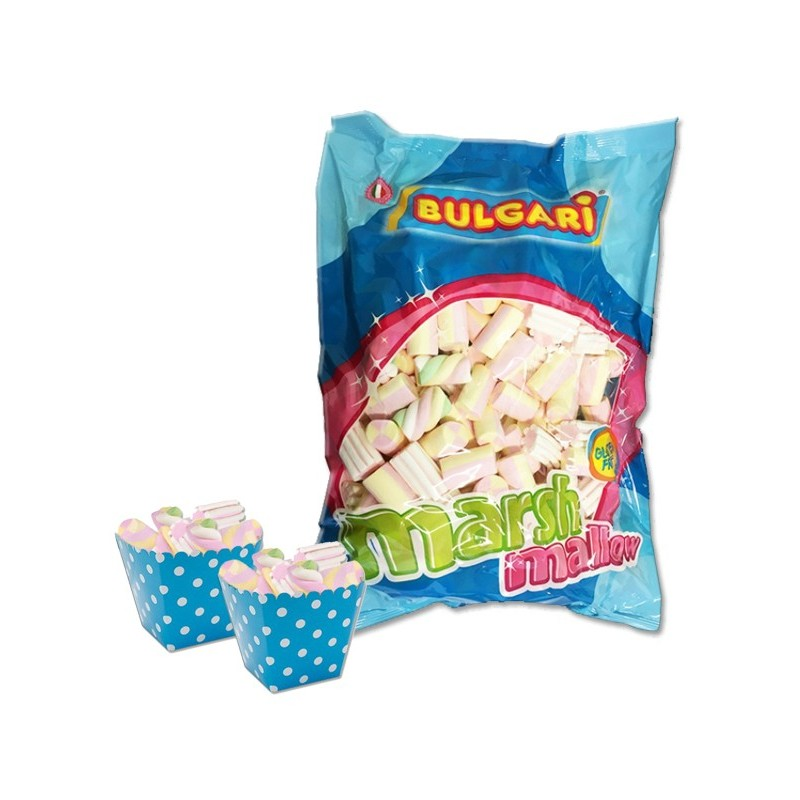 24 SCATOLINE BOX CELESTE + 1 KG DI MARSHMALLOW MIX BIANCO ROSA ESTRUSO