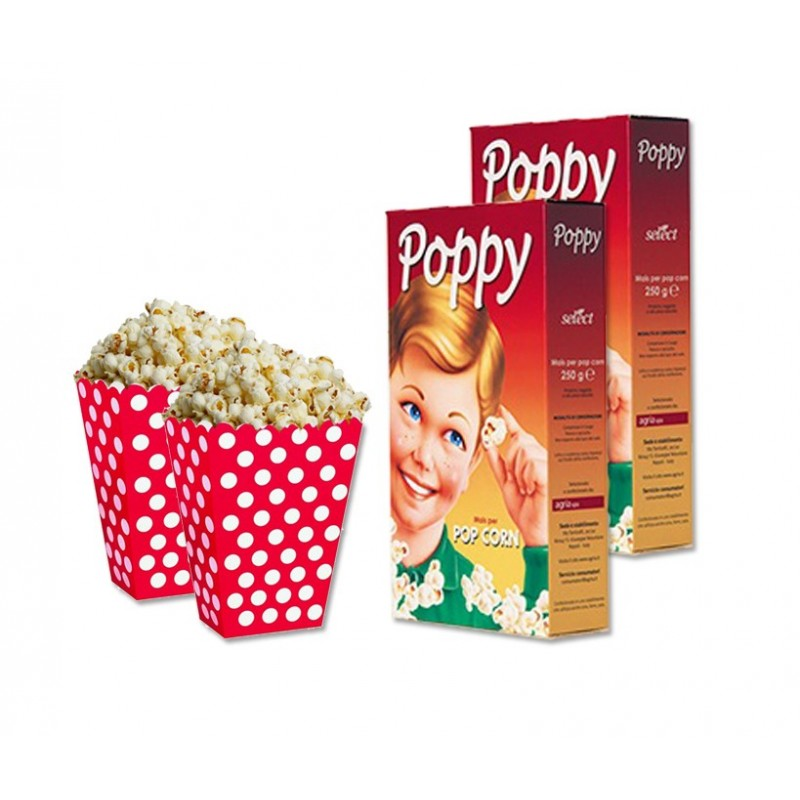 SCATOLINE BOX POP CORN ROSSO POIS 24 pz + 500 gr DI MAIS PER POP CORN SELECT