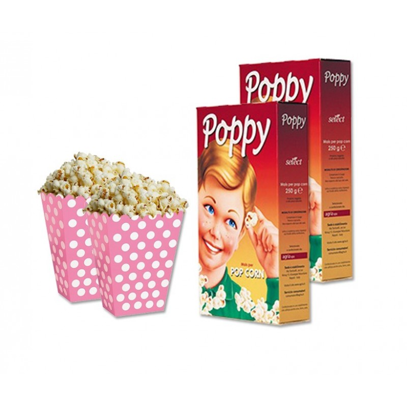 SCATOLINE BOX POP CORN FUCSIA POIS 24 pz + MAIS PER POP CORN 500 GR