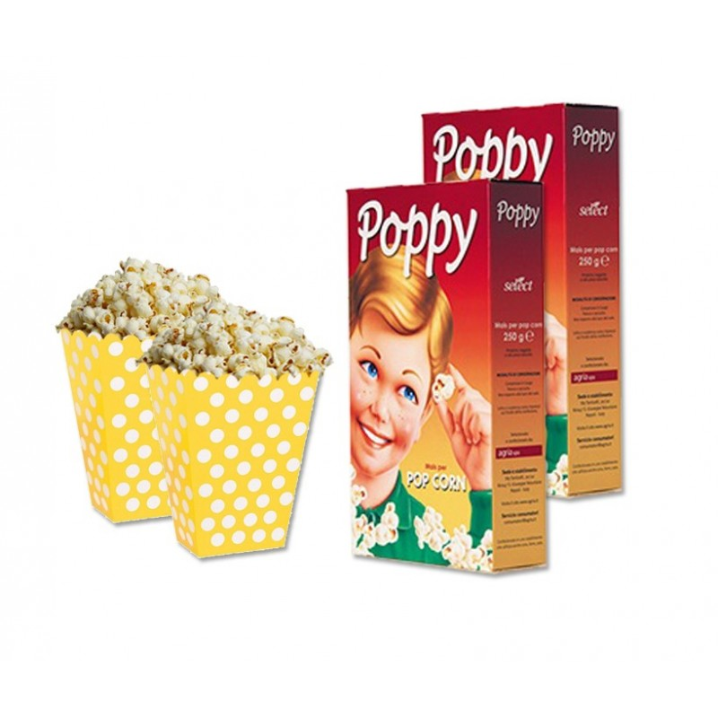 SCATOLINE BOX POP CORN GIALLO POIS 24 PZ +500 GR MAIS POP CORN