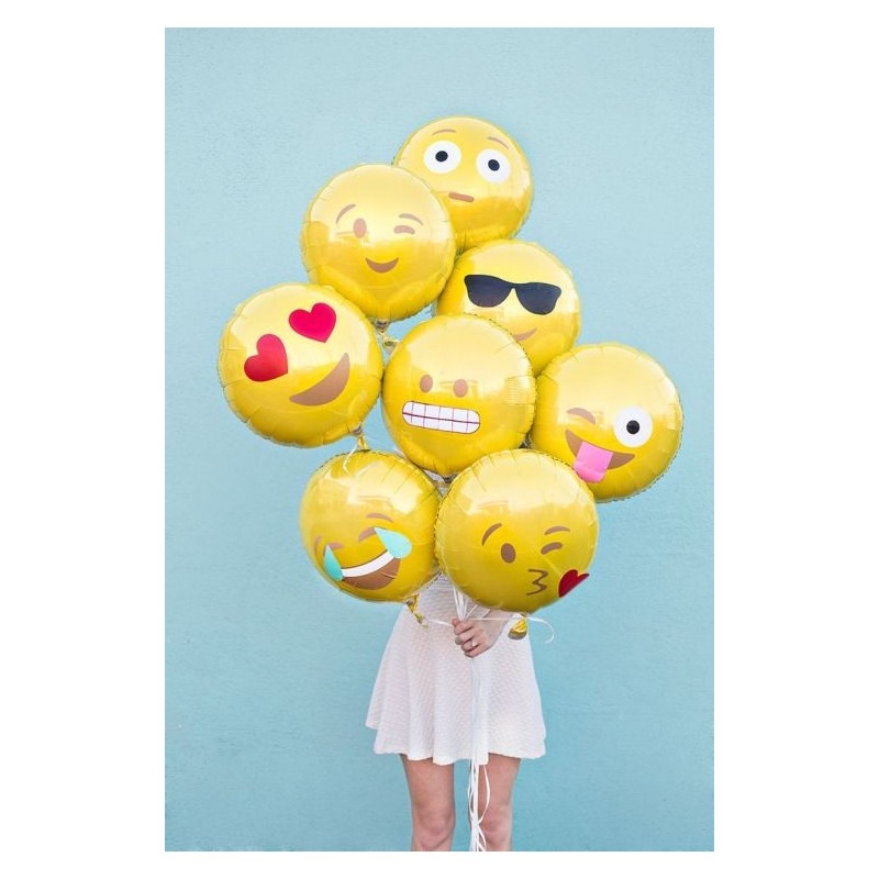 BOUQUET PALLONCINI FOIL EMOTICON SMILE FACCINE 7 PZ