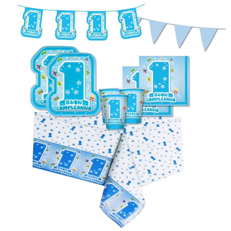 KIT N 17 - 1 ANNO ONE LIGHT BLUE ADDOBBI PRIMO COMPLEANNO