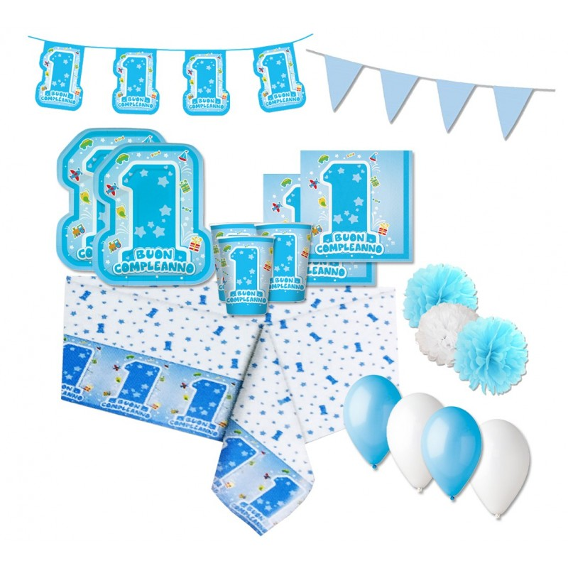 KIT N 46 - PRIMO COMPLEANNO 1 ANNO ONE LIGHT BLUE COORDINATO