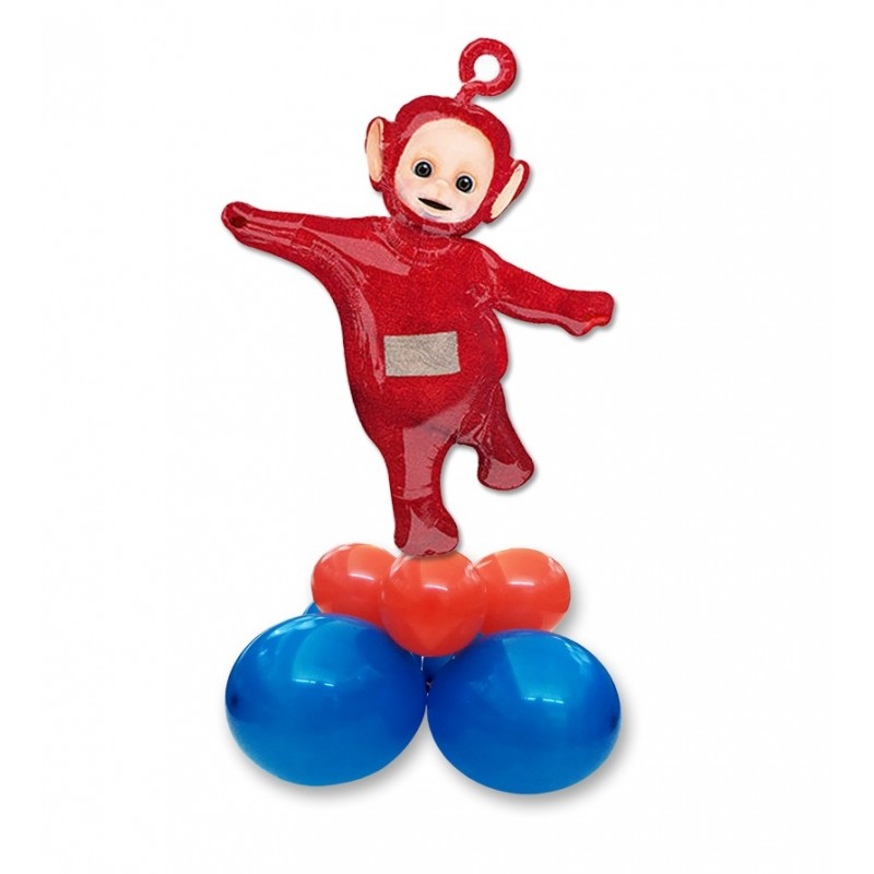 COMPOSIZIONE CENTROTAVOLA PALLONCINI TELETUBBIES POO SUPERSHAPE ROSSO