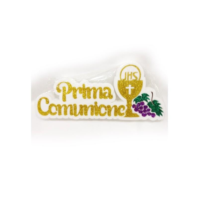 DECORAZIONE PRIMA COMUNIONE POLISTIROLO CON UVA GLITTERATA DORATA 35X27