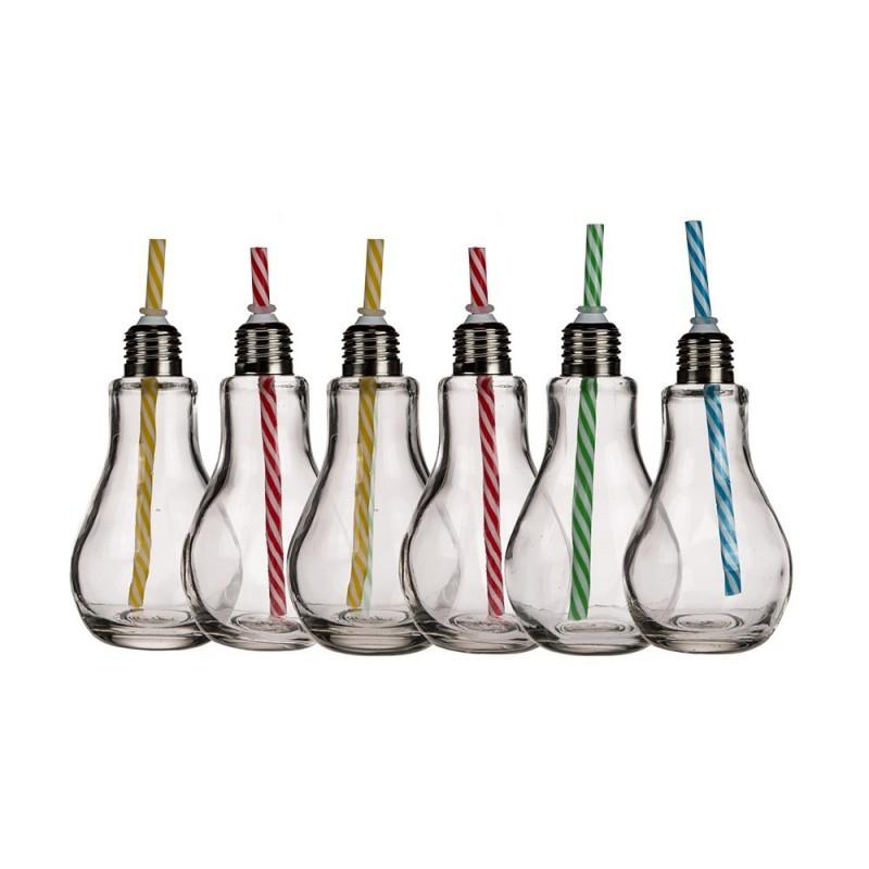 SET 6 BARATTOLI LAMPADINA CA150 IN VETRO CON CANNUCCIA