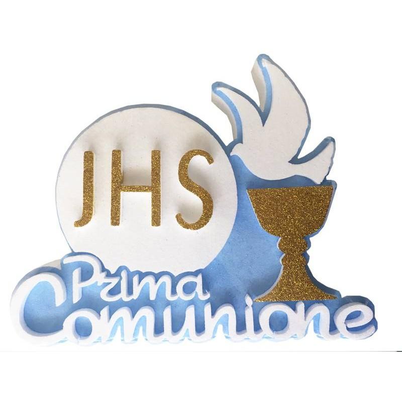 DECORAZIONE PRIMA COMUNIONE POLISTIROLO CELESTE 7566
