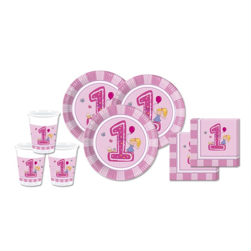 KIT N 2 - COORDINATO PRIMO COMPLEANNO 1 ANNO GIRLS FIRST