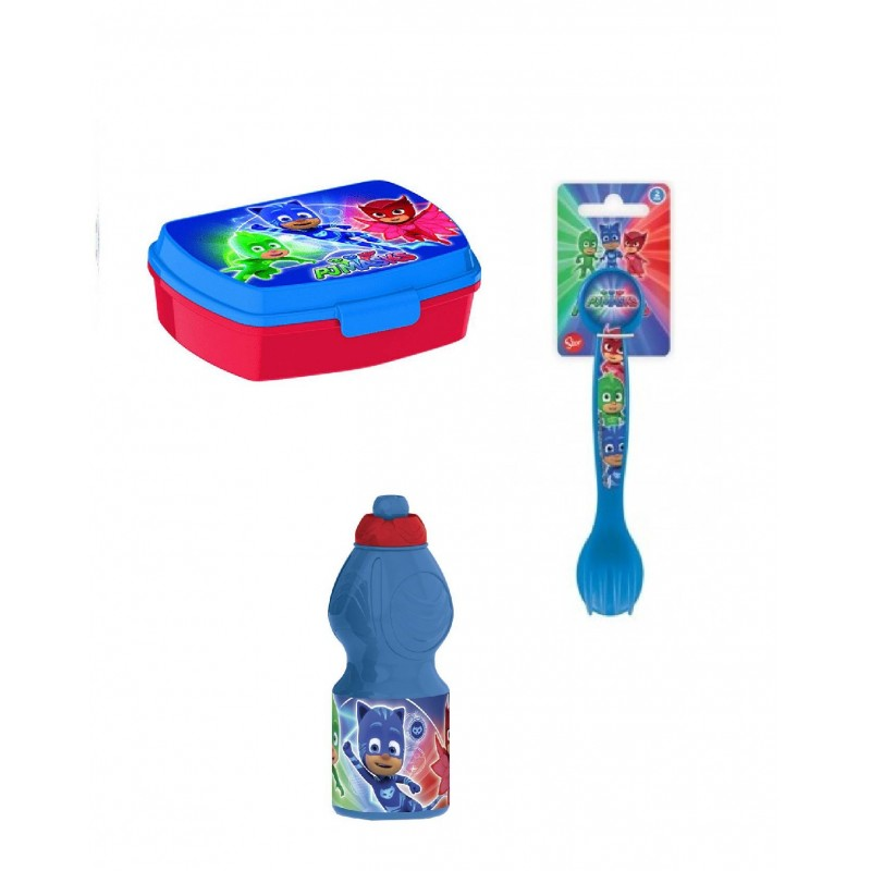 PORTA MERENDA + BORRACCIA 350 ML + POSATE SUPER PIGIAMINI PJ MASKS