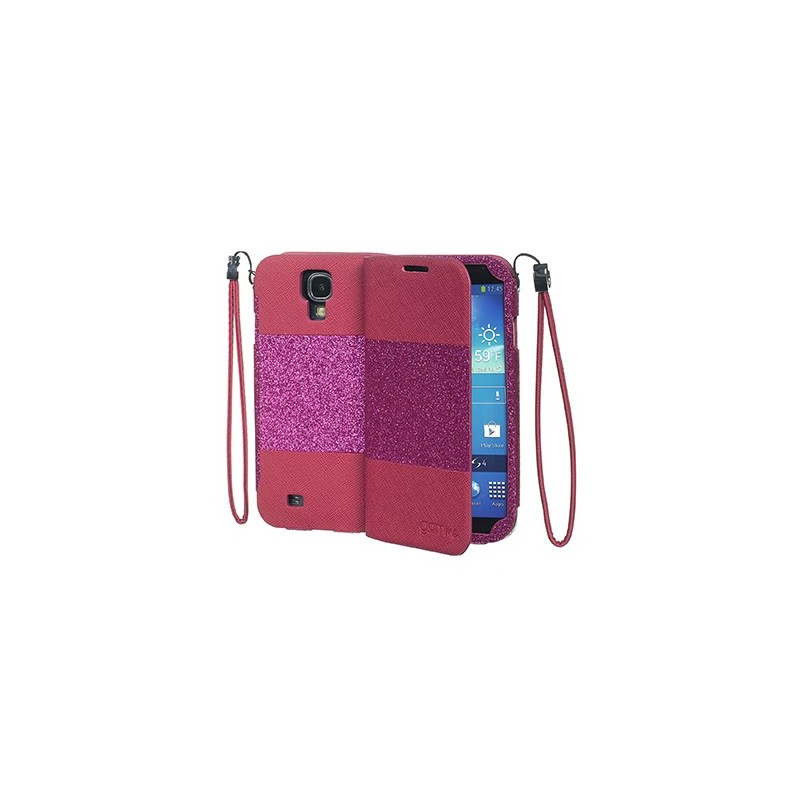 CUSTODIA PER GALAXY S4 GLITERRATA FUCSIA  CON SPECCHIO CELLY