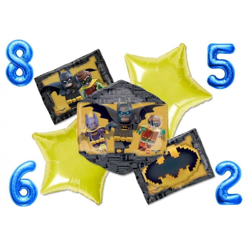 BOUQUET PALLONCINI KIT N 3 LEGO BATMAN + NUMERO FOIL A SCELTA BLU