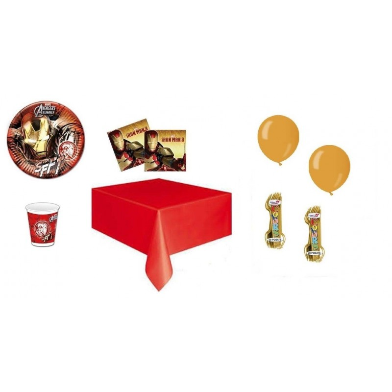 KIT 6 - 205 PZ. IRON MAN + FORCHETTE E PALLONCINI ORO
