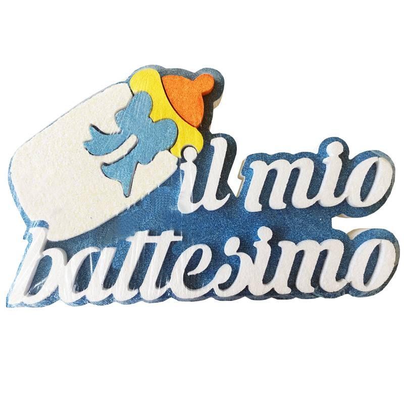 DECORAZIONE IL MIO BATTESIMO GLITTERATA CELESTE POLISTIROLO BIBERON