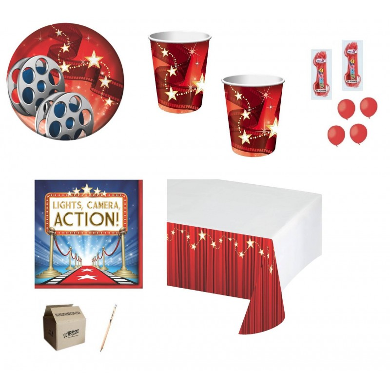KIT N.6 HOLLYWOOD LIGHT + FORCHETTE PALLONCINI ROSSI