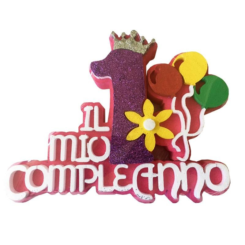 Decorazione Per Primo Compleanno Bambina In Polistirolo Glitterata