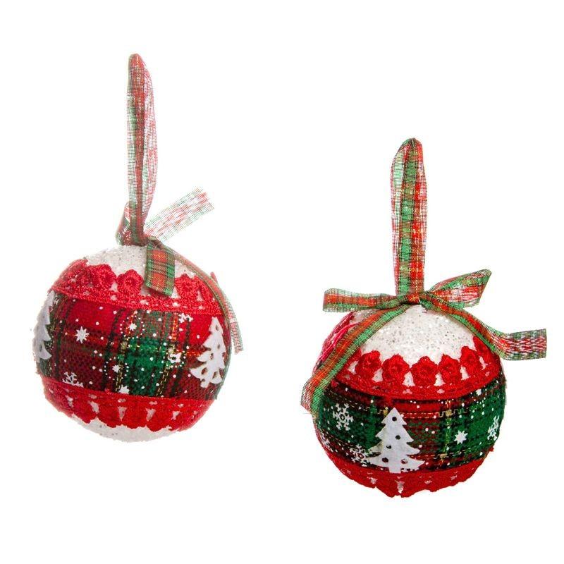 Palline Di Natale Immagini.Palline Di Natale Glitter Tessuto Scozzese