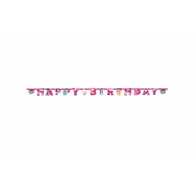 GHIRLANDA FESTONE HAPPY BIRTHDAY COMPLEANNO BAMBINA LITTLE PONY