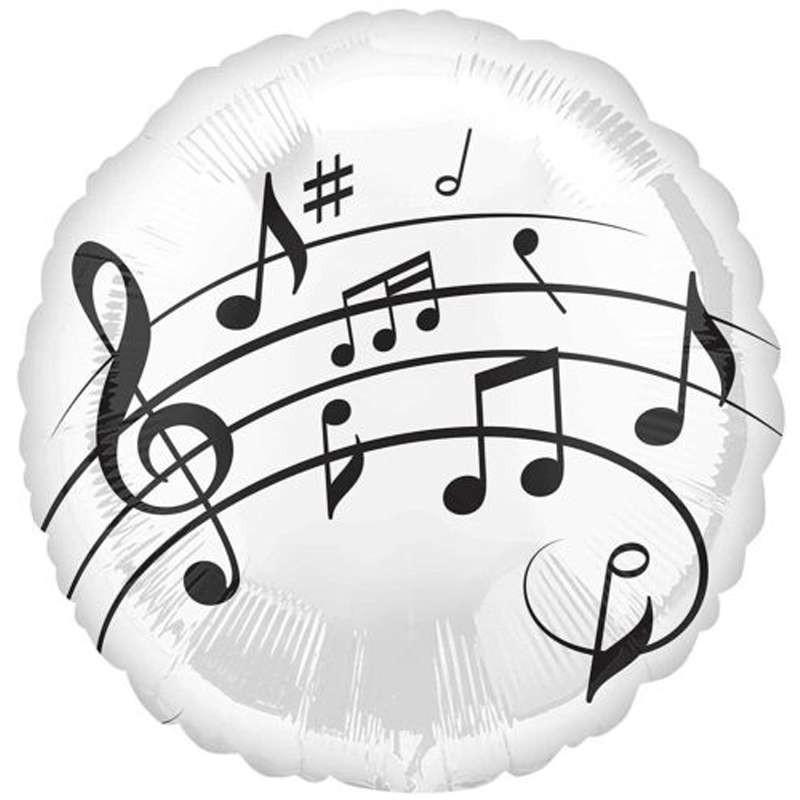 PALLONCINO FOIL - NOTE MUSICALI BIANCO E NERO