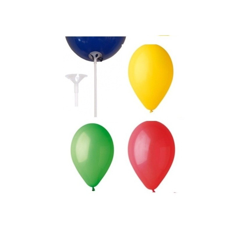 KIT 100 PALLONCINI COLORATI + 10O ASTE