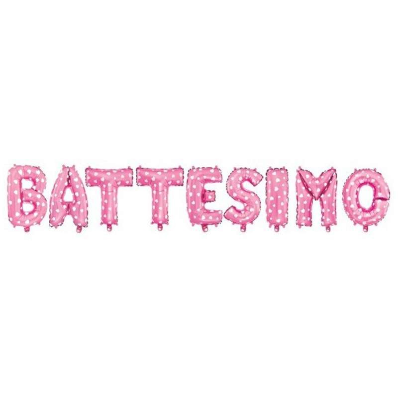 SCRITTA BATTESIMO FOIL MYLAR - CELESTE O ROSA