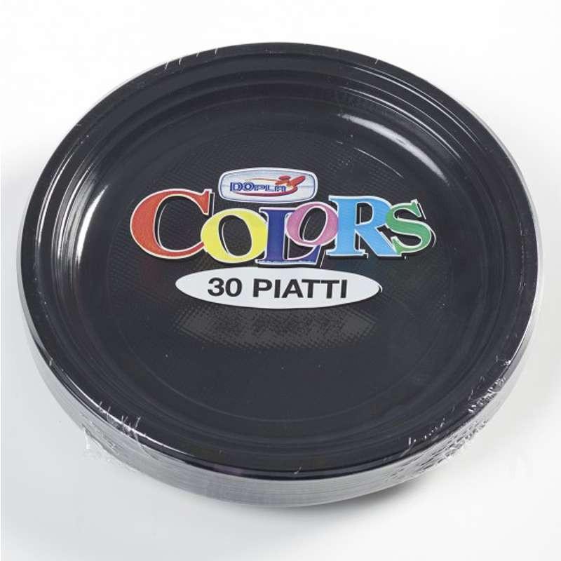 PIATTI NERI DI PLASTICA- 30 PZ