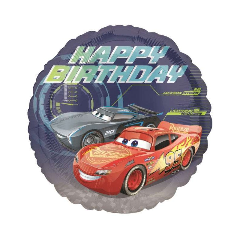 PALLONCINO FOIL CARS 3 HAPPY BIRTHDAY