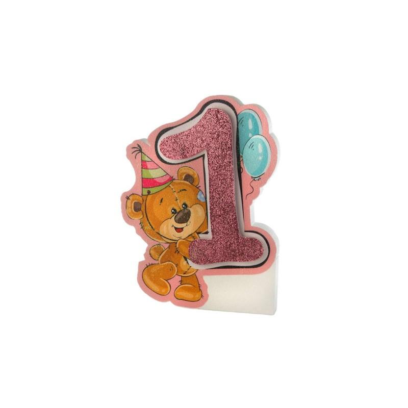 Polistirolo un anno orsetto - rosa o celeste