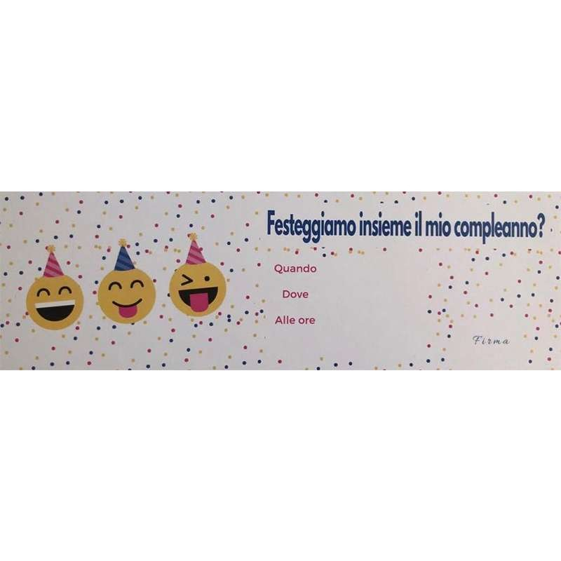 INVITI DI COMPLEANNO EMOTICON SMILE - 15 PZ
