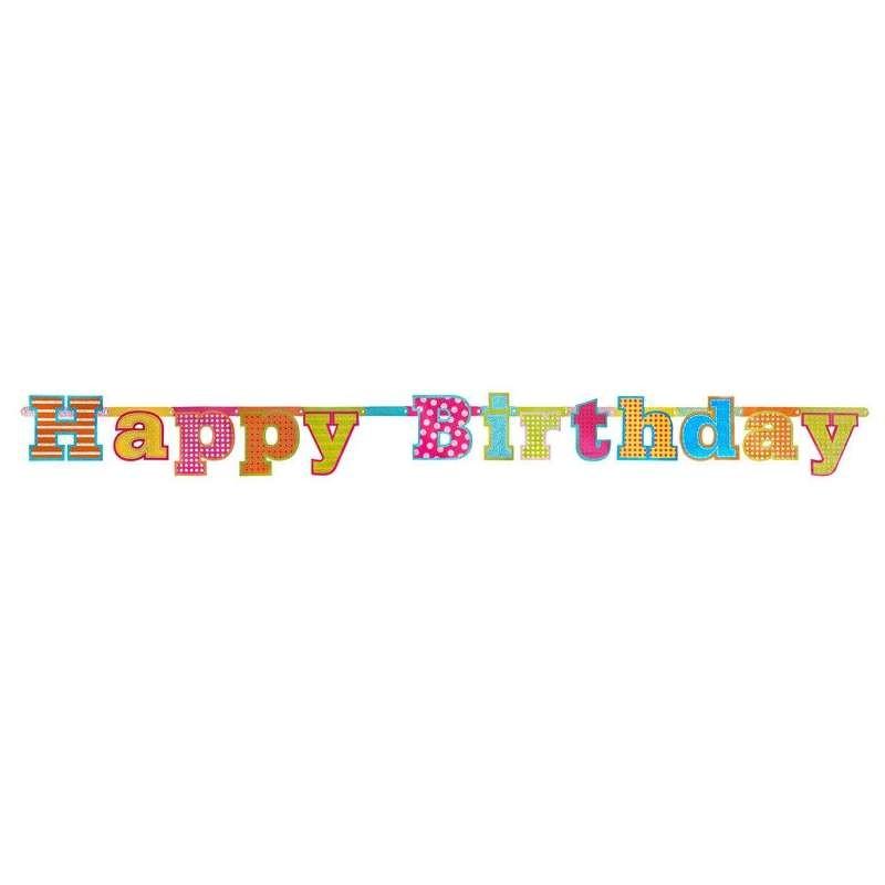 GHIRLANDA HAPPY BIRTHDAY MULTICOLOR - FESTONE BUON COMPLEANNO